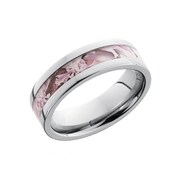 Pink Camo Ring for Her in Titanium