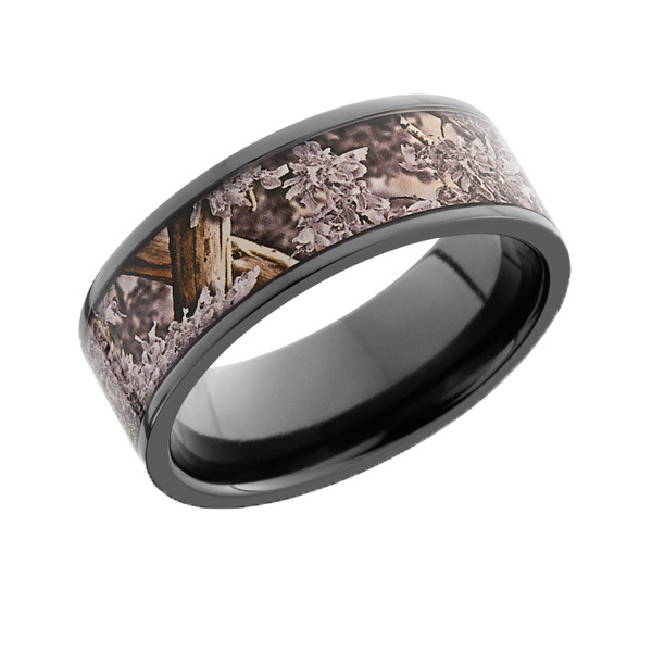 Black Zirconium Snow Camo Ring with Flat Edge