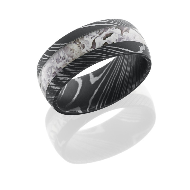Damascus Steel King's Snow Camo Ring