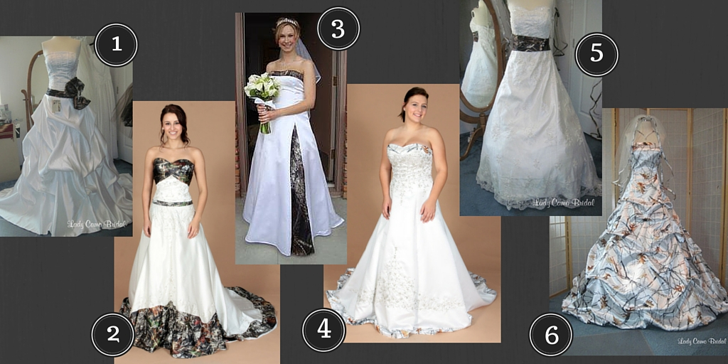 In The First Picture You Ll See White Wedding Dresses With Just A Hint Of Camo Either Sash Ts Ribbons Train Or Other Parts