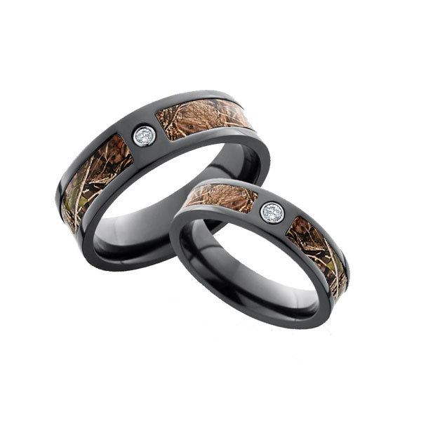 Diamond Black Camo Wedding Ring His and Hers Set